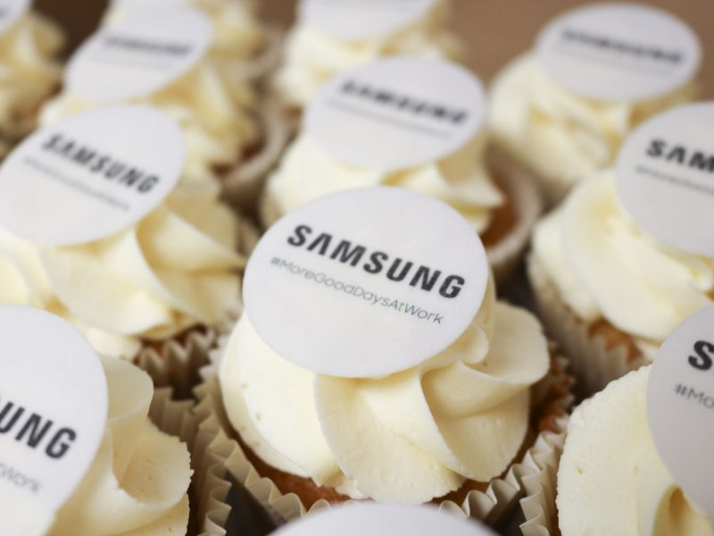 Branded Cupcakes made by Amore Bakery.